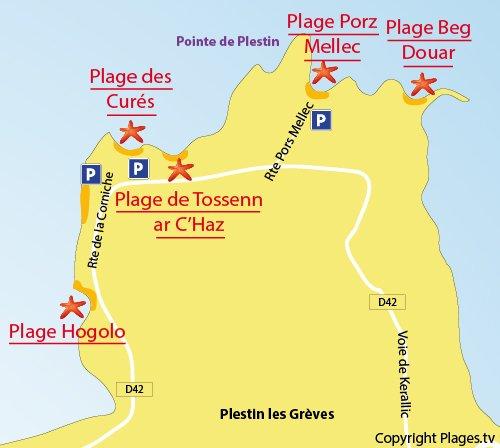 Carte de la plage de Porz Mellec de Plestin les Grèves