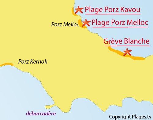 Carte de la plage de Porz Melloc à Batz