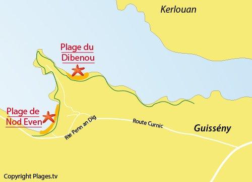 Carte de la plage de Nod Even - Guissény