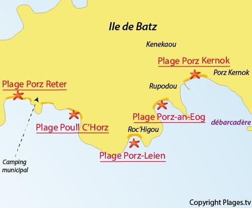 Carte de la plage de Porz Reter sur l'ile de Batz