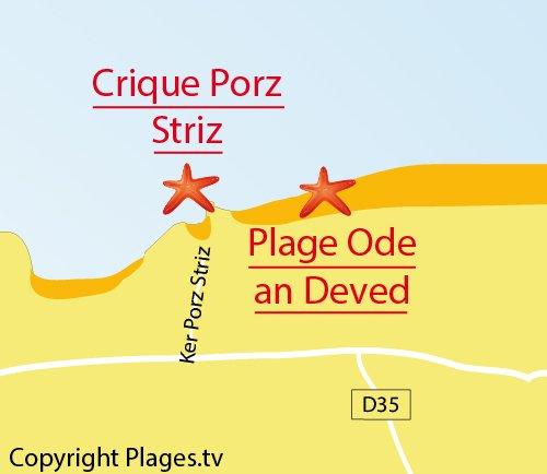 Map of Porz Striz Cove in Cléder
