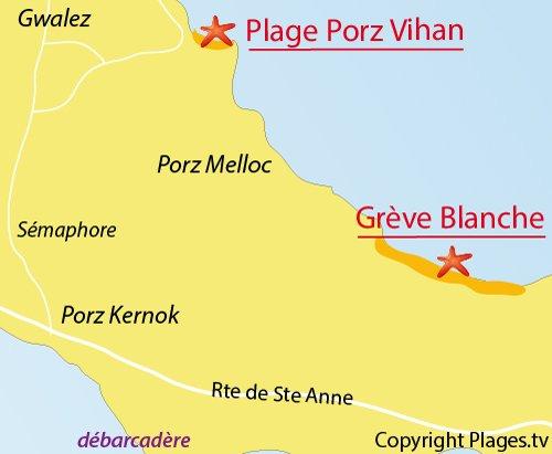 Carte de la plage de Porz Vihan sur l'ile de Batz
