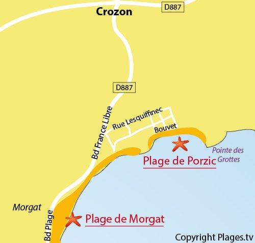 Map of Porzic Beach in Crozon