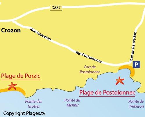 Plan de la plage de Postolonnec à Crozon