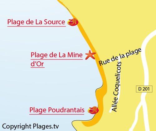 Map of Poudrantais Beach - Pénestin