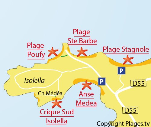 Map of Poufy Cove - Dentis - Isolella - Corsica