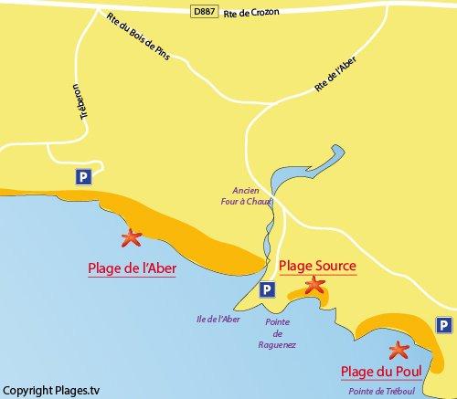 Carte de la plage du Poul à Crozon