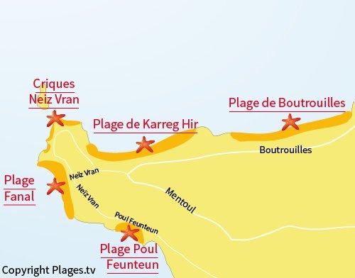 Carte de la plage de Poul Feunteun à Kerlouan