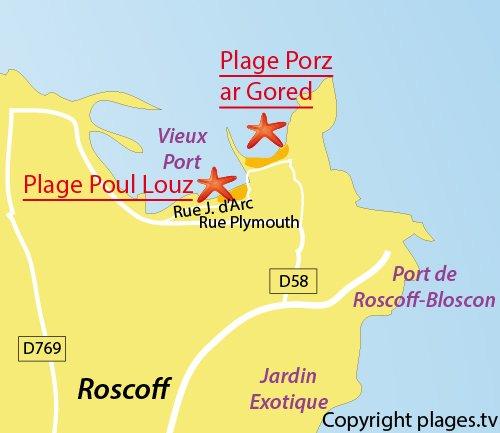Carte de la plage de Poul Louz de Roscoff