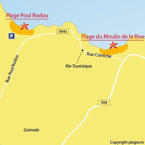 Carte de la plage de Poul Rodou à Locquirec
