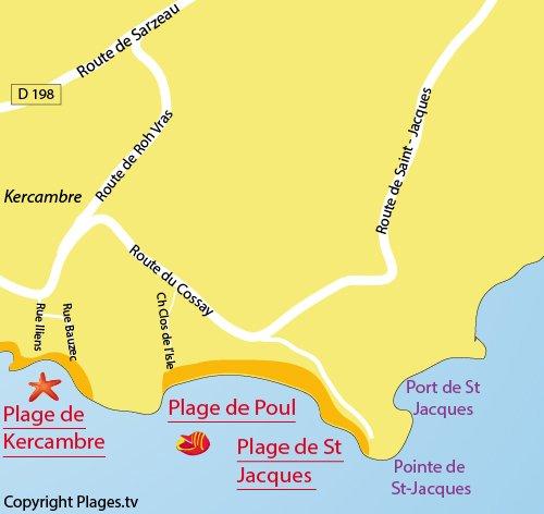 Carte de la plage du Poul à St Gildas de Rhuys