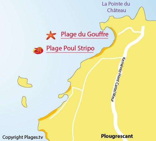 Plan de la plage de Poul Stripo à Plougrescant