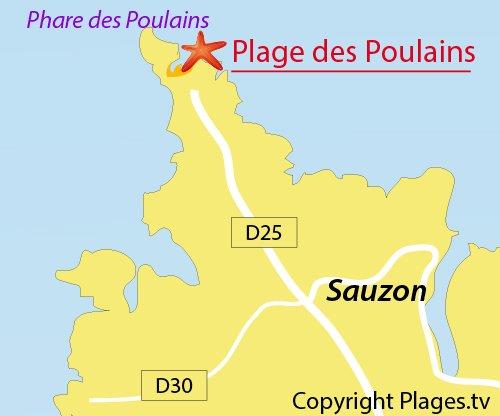 Carte de la plage des Poulains à Belle Ile en Mer