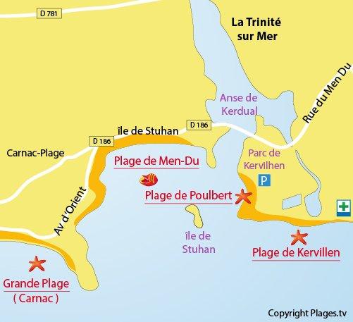 Plan de la plage de Poulbert à La Trinité sur Mer
