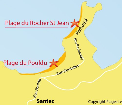 Map of Pouldu Beach in Santec