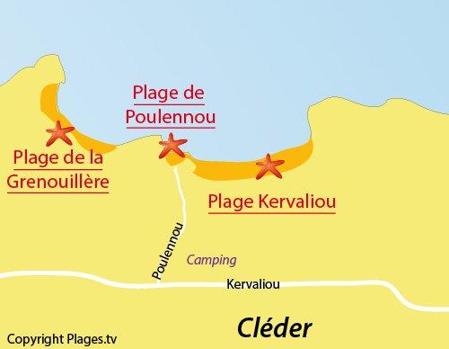 Carte de la plage de Poulennou à Cléder