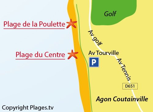 Map of Poulette Beach in Coutainville