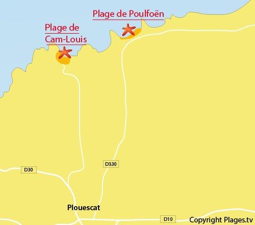 Carte de la plage de Poulfoen à Plouescat