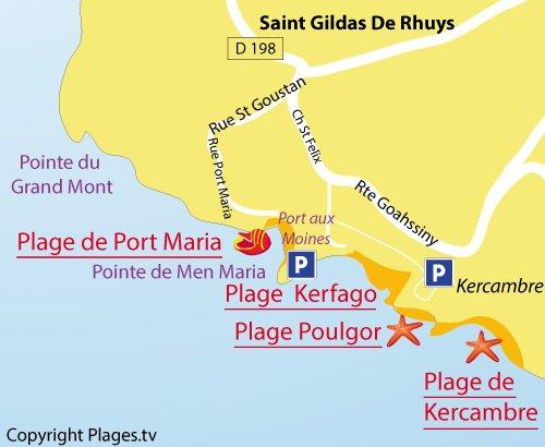 Carte de la plage de Poulgor à St Gildas de Rhuys
