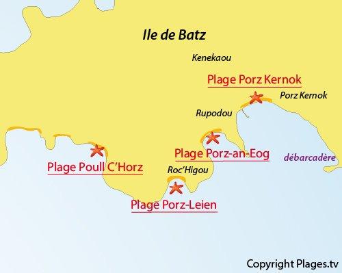 Carte de la plage de Poull C'Horz sur l'ile de Batz