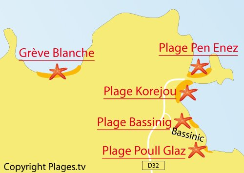Carte de la plage de Poull Glaz à Plouguerneau