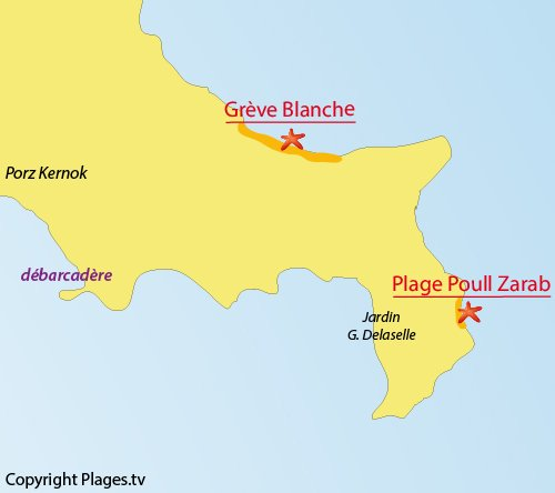 Map of Poull Zarab Beach - Batz island