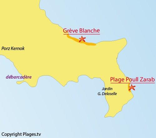 Map of Poull Zarab Beach - Batz island