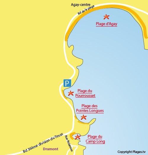 Carte de la plage du Pourrousset à Agay