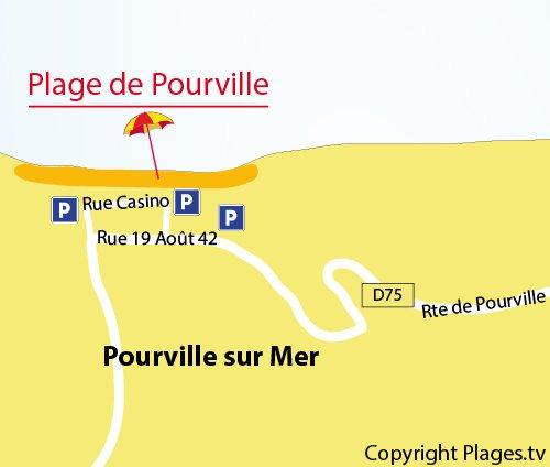 Carte de la plage de Pourville sur Mer