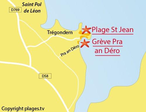 Carte de la grève de Pra an Déro à St Pol