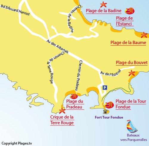 Map of Pradeau Beach in Hyères