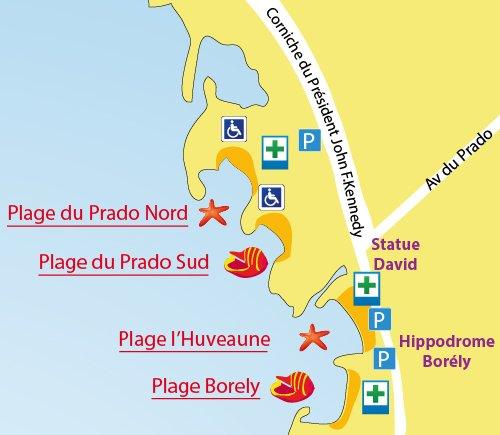 Plan de la plage du Prado Nord à Marseille