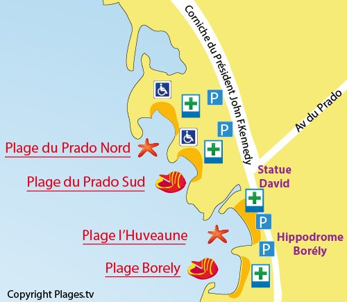 Map of Prado Sud Beach in Marseille