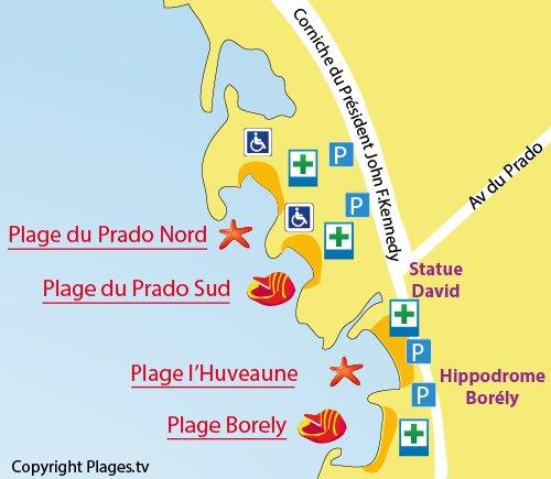 Carte de la plage du Prado Sud de Marseille