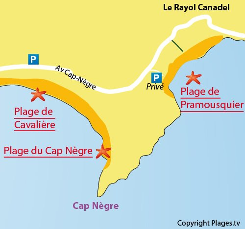 Map of Pramousquier Beach in Rayol Canadel - France