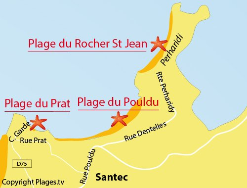 Map of Prat beach in Santec