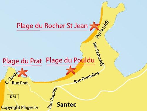 Map of Prat beach in Santec