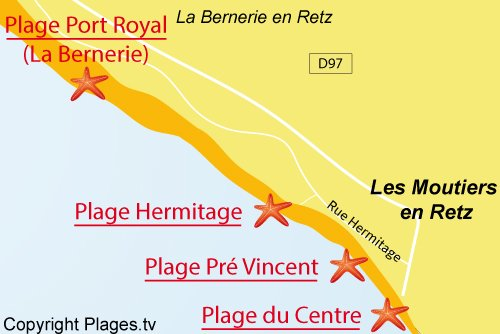 Carte de la plage du Pré Vincent - Les Moutiers en Retz