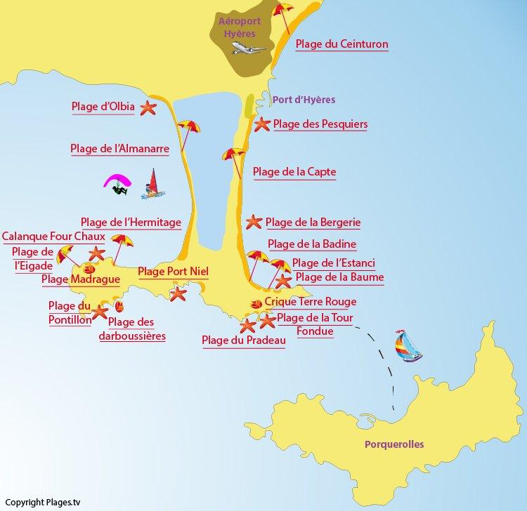 carte presqu île de giens Presqu'ile de Giens : un site sauvage dans la station balnéaire d