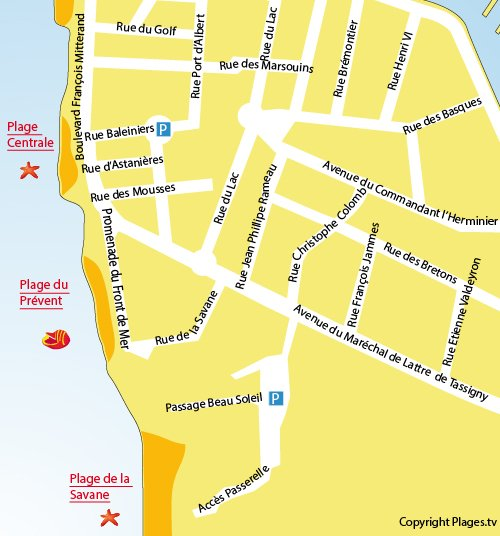 Map of Prévent Beach in Capbreton