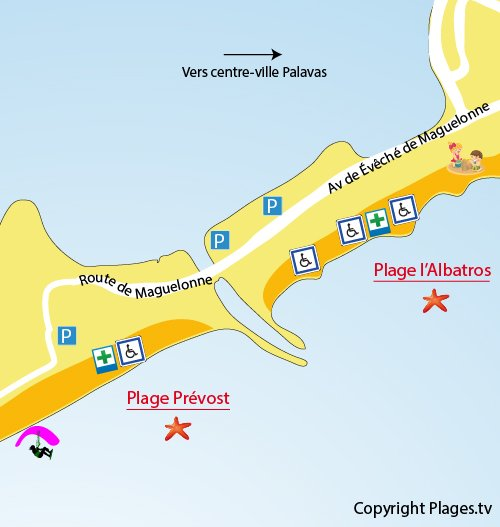 Mappa della spiaggia Prevost a Palavas les Flots