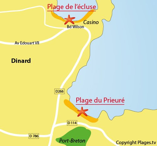 Map of the Prieuré Beach in Dinard