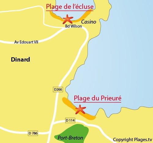 Carte de la plage du Prieuré de Dinard