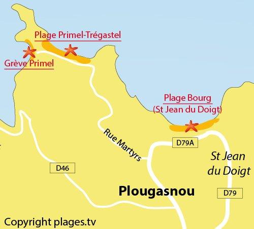Carte de la Grève de Primel à Plougasnou