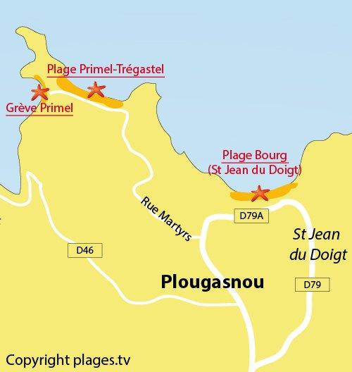 Carte de la plage de Primel Trégastel de Plougasnou