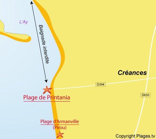 Carte de la plage de Printania à Créances