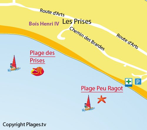 Plan de la plage des Prises à Couarde sur Mer sur l'Ile de Ré