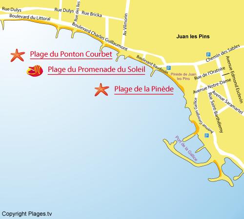 Plan de la plage de la Promenade du Soleil à Juan les Pins