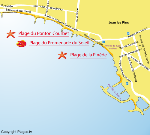 Map of the Promenade du Soleil Beach in Juan les Pins