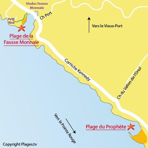 Map of Prophète beach in Marseille